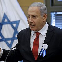 Prime Minister Benjamin Netanyahu speaks during a Likud faction meeting at the Knesset on October 3, 2019. (Menahem Kahana/AFP)