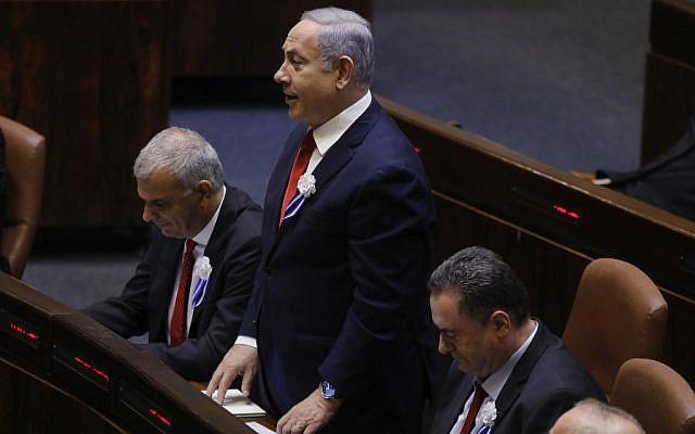 Prime Minister Benjamin Netanyahu is sworn in as a lawmaker in the 22nd Knesset on October 3, 2019. (Menahem Kahana/AFP)