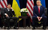 In this photo from September 25, 2019, US President Donald Trump and Ukrainian President Volodymyr Zelensky meet on the sidelines of the United Nations General Assembly in New York. (Saul Loeb/AFP)