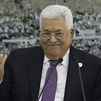 Palestinian Authority President Mahmoud Abbas gestures, during a meeting at the presidential compound in the West Bank city of Ramallah on October 6, 2019. (Abbas Momani/AFP)