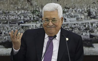 Palestinian Authority President Mahmoud Abbas during a meeting at the presidential compound in the West Bank city of Ramallah on October 6, 2019. (Abbas Momani/AFP)