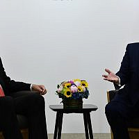 Illustrative: US President Donald Trump (R) and Turkish President Recep Tayyip Erdogan hold a bilateral meeting on the sidelines of the G20 Summit in Osaka on June 29, 2019. (Brendan Smialowski/AFP)
