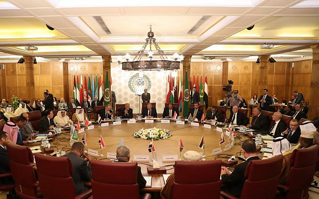 Representatives of the Arab League attend an emergency meeting at the Arab League headquarters in Cairo on October 12, 2019, to discuss Turkey's offensive on Syria. (Mohamed el-Shahed / AFP)