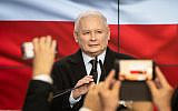 Leader of Poland's ruling Law and Justice (PiS) party, Jaroslaw Kaczynski reacts after the first exit polls during the party's electoral evening in Warsaw, Poland, on October 13, 2019 (Wojtek RADWANSKI / AFP)