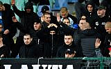 Bulgarian fans make the Nazi salute during the Euro 2020 Group A football qualification match between Bulgaria and England at the Vasil Levski National Stadium in Sofia on October 14, 2019. (Photo by NIKOLAY DOYCHINOV / AFP)