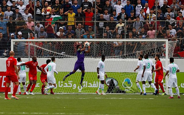 Saudi's goalkeeper Mohammed Alowais (C) saves the ball during the World Cup 2022 Asian qualifying match between Palestine and Saudi Arabia in the West Bank town of al-Ram on October 15, 2019. (Ahmad GHARABLI / AFP)