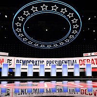 The stage for the fourth Democratic primary debate of the 2020 presidential campaign season hosted by CNN and The New York Times, at Otterbein University in Westerville, Ohio, October 15, 2019. (Saul Loeb/AFP)