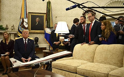 US President Donald Trump meets with Italian President Sergio Mattarella (not pictured) in the Oval Office of  the White House in Washington, DC, on October 16, 2019. (Brendan Smialowski / AFP)