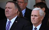 US Secretary of State Mike Pompeo (R) and US Vice President Mike Pence (L) at a luncheon at the State Department in Washington, September 20, 2019. (Brendan Smialowski/AFP)