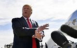 US President Donald Trump speaks as he arrives at Naval Air Station Joint Reserve Base Forth Worth in Texas on October 17, 2019. (Nicholas Kamm / AFP)