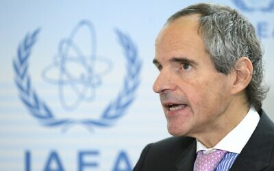 In this photo taken on October 2, 2019, one of the four candidates for the general director of the International Atomic Energy Agency (IAEA), Argentina's Rafael Grossi, speaks to the press after an agency hearing. (JOE KLAMAR / AFP)