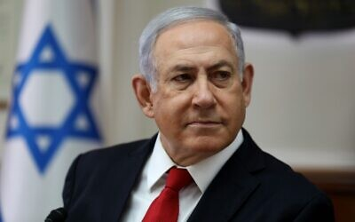 Israeli Prime Minister Benjamin Netanyahu chairs the weekly cabinet meeting at his office in Jerusalem on October 27, 2019. (GALI TIBBON / AFP)