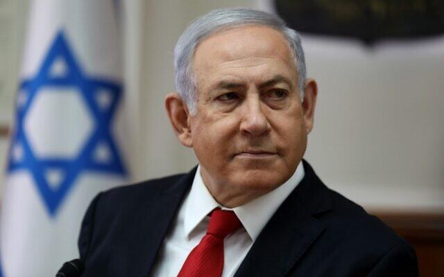 O primeiro-ministro israelense Benjamin Netanyahu preside a reunião semanal do gabinete em seu escritório em Jerusalém, em 27 de outubro de 2019 (GALI TIBBON / AFP)