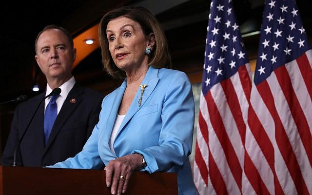 Speaker of the House Nancy Pelosi (D-CA) answers questions with House Select Committee on Intelligence Chairman Rep. Adam Shiff (D-CA) at the U.S. Capitol October 2, 2019 in Washington, DC. (Win McNamee/Getty Images/AFP)
