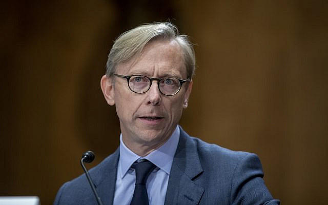 Brian Hook, the US State Department special representative for Iran, testifies during a Senate Foreign Relations Committee hearing on US policy toward Iran, October 16, 2019, in Washington. (Tasos Katopodis/Getty Images/AFP)
