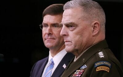 US Defense Secretary Mark Esper (L) and Chairman of the Joint Chiefs of Staff Gen. Mark Milley hold a news conference at the Pentagon the day after it was announced that Islamic State chief Abu Bakr al-Baghdadi was killed in a US raid in Syria, October 28, 2019, in Arlington, Virginia. (Chip Somodevilla/Getty Images/AFP)