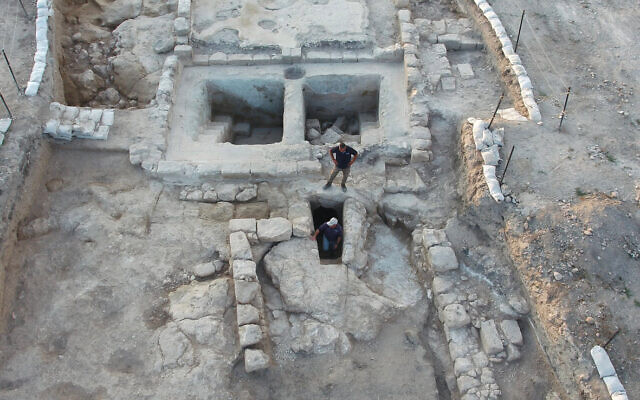 Aerial view of the winepresses and the adjacent ritual bath at Ancient Usha. (Assaf Peretz, Israel Antiquities Authority)