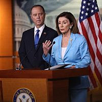 US House Speaker Nancy Pelosi and Intelligence Committee chairman Adam Schiff answer questions at a news conference in Washington, Oct. 2, 2019. (Win McNamee/Getty Images via JTA)