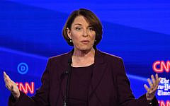 Democratic presidential hopeful Senator Amy Klobuchar during the fourth Democratic primary debate of the 2020 presidential campaign season co-hosted by The New York Times and CNN at Otterbein University in Westerville, Ohio, October 15, 2019. (Saul Loeb/AFP via Getty Images)