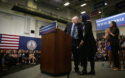 Bernie Sanders with Remaz Abdelgader, a Muslim student, during a National Student Town Hall at George Mason University in Fairfax, Virginia, October 28, 2015. (Alex Wong/Getty Images/via JTA)