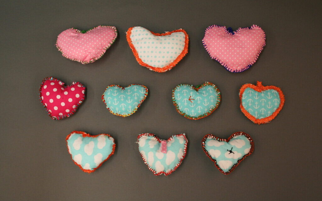 Quilted hearts sent in memoriam of the Pittsburgh synagogue shooting. (Courtesy of the Tree of Life Congregation and Rauh Jewish History Program & Archives)