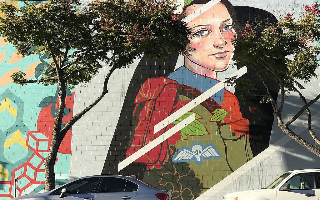 Julie Robertson painted a mural of Hannah Senesh in downtown San Diego. (Courtesy of Robertson)