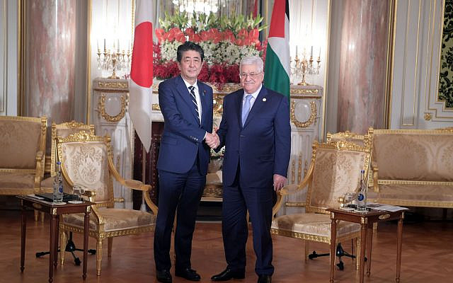 PA President Mahmoud Abbas and Japanese Prime Minister Shinzo Abe meeting on October 21, 2019 in Tokyo. (Credit: Wafa)