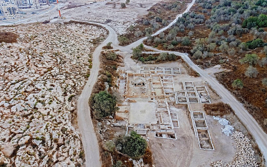 Site of the church exposed in Ramat Beit Shemesh, October 2019. (Asaf Peretz, Israel Antiquities Authority)