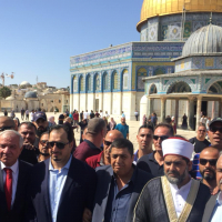 Members of the Saudi national soccer team with Palestinian officials during a visit to the al-Aqsa Mosque on Jerusalem's Temple Mount (WAFA Images)
