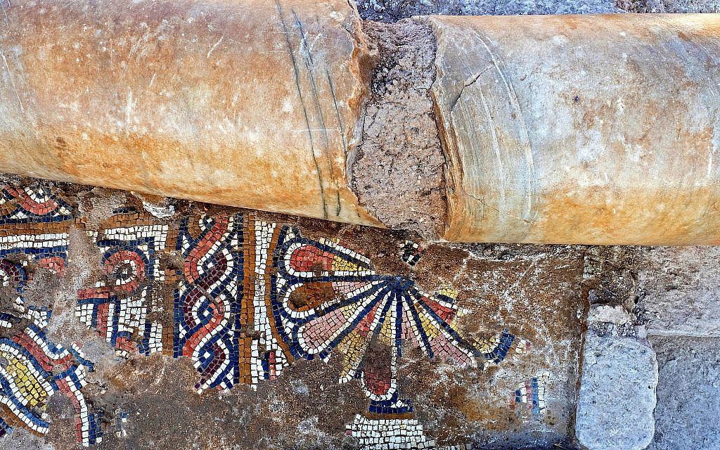 Mosaics exposed from the floor of the Byzantine-era church in Ramat Beit Shemesh, October 2019. (Asaf Peretz, Israel Antiquities Authority)
