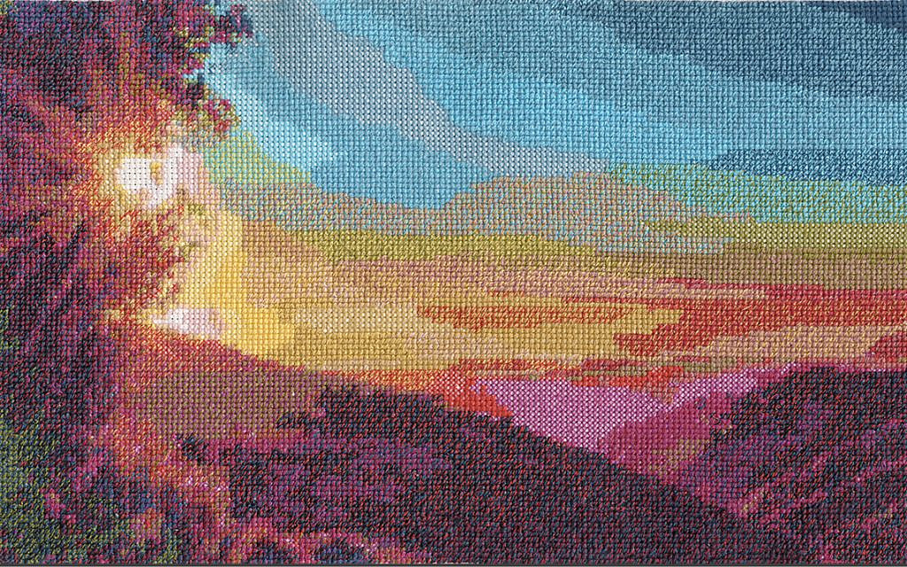 Deut. 34:1-4 by Rona Kosansky (Courtesy of Torah Stitch by Stitch project)