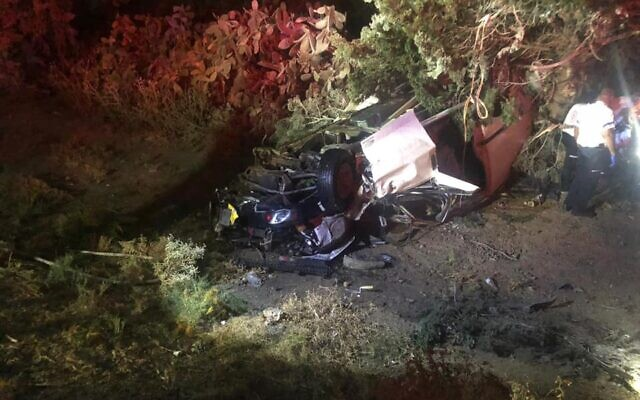 A vehicle flipped over in northern Israel after a fatal crash on October 26, 2019. (Courtesy Hian Emergency Medical Services)