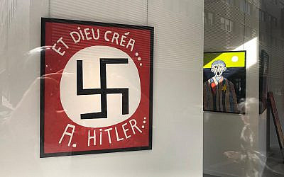A Belgian politician presented this painting featuring a large swastika at the Bog-Art Gallery in Brussels. (Courtesy of LBCA/via JTA)