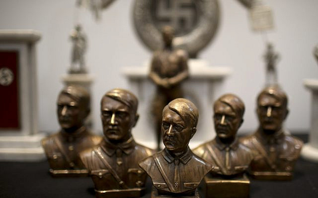 Busts of German Nazi leader Adolf Hitler discovered by police in 2017 are displayed during a press conference in Buenos Aires, Argentina, October 2, 2019. (Natacha Pisarenko/AP)