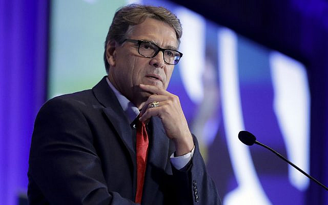 In this Sept. 6, 2019, file photo, Energy Secretary Rick Perry speaks at the California GOP fall convention in Indian Wells, Calif. Perry pushed Ukraine's president earlier in 2019 to replace members of a key supervisory board at Naftogaz, a massive state-owned petroleum company. (AP Photo/Chris Carlson)