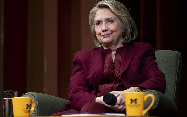 Former Secretary of State Hillary Clinton lectures on foreign policy at Rackham Auditorium on October 10, 2019 in Ann Arbor, Mich.(Jacob Hamilton/Ann Arbor News via AP)