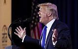 US President Donald Trump speaks at the Values Voter Summit in Washington, October 12, 2019. (AP Photo/Manuel Balce Ceneta)