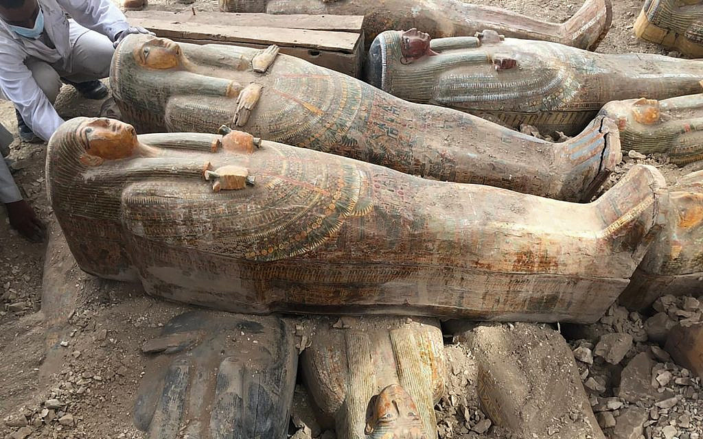 Archaeologists uncover 20 ancient coffins in Egypt