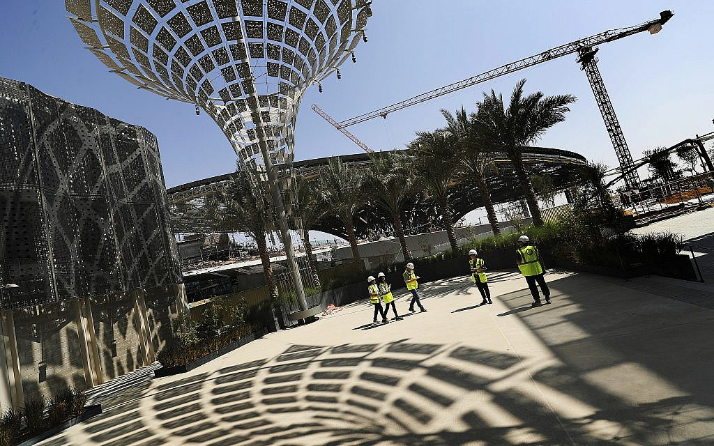 In this Oct. 8, 2019, photo, Associated Press journalists visit the Sustainability Pavilion at the under construction site of the Expo 2020 in Dubai, United Arab Emirates. (AP Photo/Kamran Jebreili)