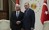 US Vice President Mike Pence, left, and Turkish President Recep Tayyip Erdogan at the presidential palace, in Ankara, Turkey, on October 17, 2019 (Presidential Press Service via AP, Pool )
