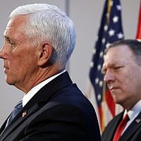 Vice President Mike Pence speaks at the US ambassador's residence during a news conference with Secretary of State Mike Pompeo after their meeting with Turkish President Recep Tayyip Erdogan, October 17, 2019, in Ankara, Turkey. (AP Photo/Jacquelyn Martin)