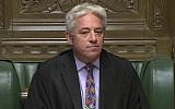 Speaker of Britain's House of Commons John Bercow makes a statement in the House of Commons in London whether Government can hold a debate and vote on the Brexit deal with Europe, Monday Oct. 21, 2019. (House of Commons via AP)