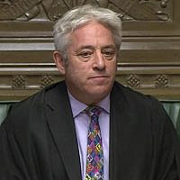 Speaker of Britain's House of Commons John Bercow makes a statement in the House of Commons in London whether Government can hold a debate and vote on the Brexit deal with Europe, October 21, 2019. (House of Commons via AP)