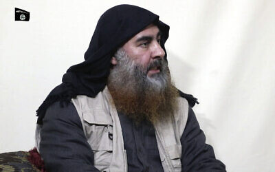 An image made from video posted on a militant website April 29, 2019, purports to show the leader of the Islamic State group, Abu Bakr al-Baghdadi, being interviewed by his group's Al-Furqan media outlet. (Al-Furqan media via AP, File)