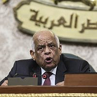 Parliament Speaker Ali Abdel Aal presides over Egypt's Parliament as it meets to deliberate constitutional amendments allowing Egyptian President Abdel-Fattah el-Sissi to stay in office till 2034, in Cairo Egypt, February 13, 2019. (AP Photo)
