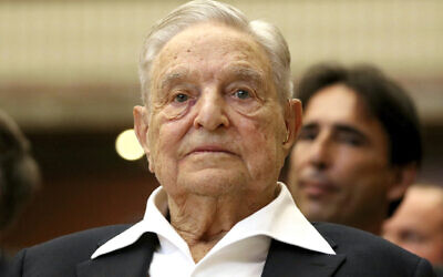 George Soros, Founder and Chairman of the Open Society Foundations, looks before the Joseph A. Schumpeter award ceremony in Vienna, Austria, Friday, June 21, 2019. (AP Photo/Ronald Zak)