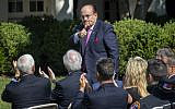 Former New York City Mayor Rudy Giuliani during the Sept. 11 attacks, now an attorney for President Donald Trump, signals a thumbs-up to first responders during a ceremony in the White House Rose Garden where the president signed an act ensuring that a victims' compensation fund never runs out of money, Monday, July 29, 2019, in Washington. (AP/J. Scott Applewhite)