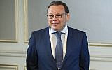Russian businessman Mikhail Fridman attends a conference of the Israel Keren Hayesod foundation in Moscow, Russia, September 17, 2019. (AP Photo/Pavel Golovkin, Pool)