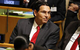 Israeli Ambassador to the United Nations Danny Danon listens to speakers at the 74th session of the United Nations General Assembly at UN headquarters Tuesday, Sept. 24, 2019. (AP Photo/Seth Wenig)