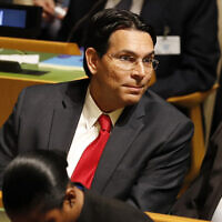 Israeli Ambassador to the United Nations Danny Danon listens to speakers at the 74th session of the United Nations General Assembly at UN headquarters Tuesday, September 24, 2019. (AP Photo/Seth Wenig)